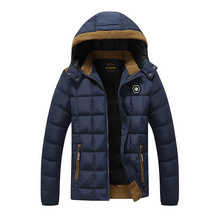 Mens Parka Coat  2017 Winter Jackets Mens Hat Detachable Thick Warm Winter Cotton-Padded Jacket Fashion Parka Coat Plus Size 3XL