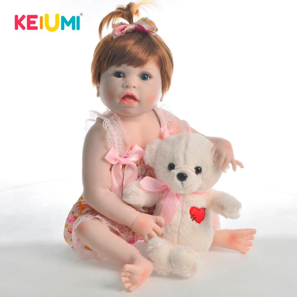 KEIUMI 23 pouces Silicone complet corps en vinyle réaliste Reborn bébé fille poupées réaliste Reborn bébé poupées 57 cm pour enfants cadeau d'anniversaire-in Poupées from Jeux et loisirs    1