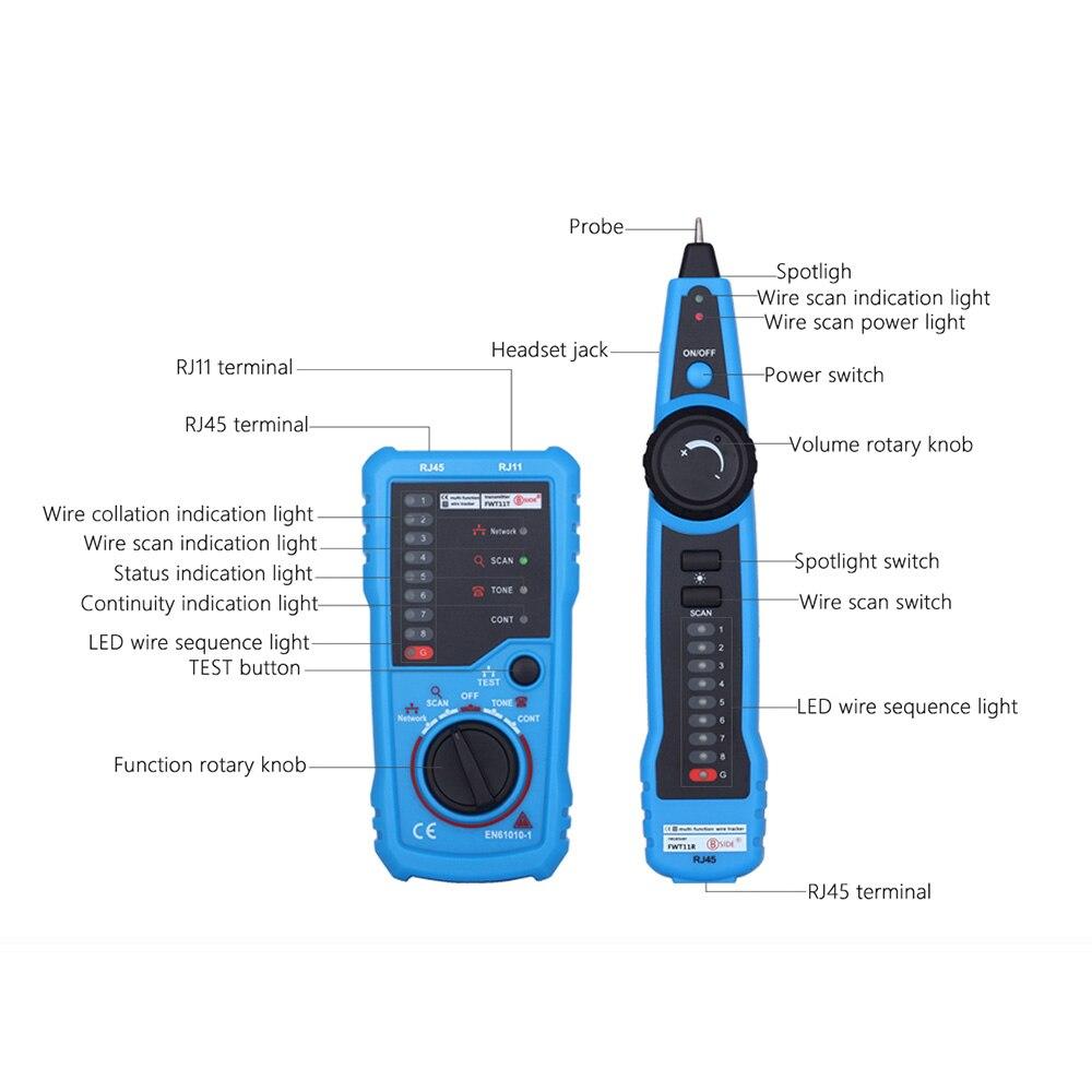 Image 2 - Высокое качество RJ11 RJ45 Cat5 Cat6 телефонный провод трекер  Tracer тонер Ethernet LAN Сетевой кабель тестер детектор линия Finder  инструментСетевые инструменты