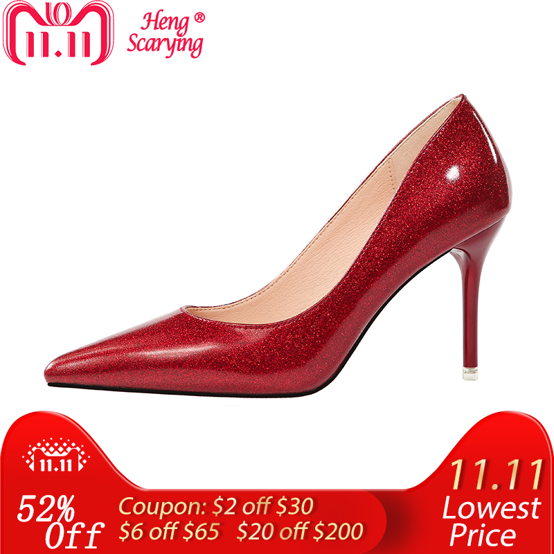 2018 Women Fetish 9cm High Heels Female Bridal Elegant Stiletto Heels Pink  Silver Leather Pumps Lady e6aec5c1aae8