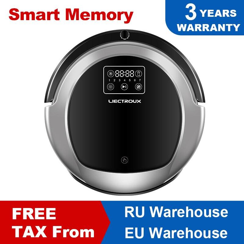 LIECTROUX B6009 Robotic Staubsauger, Karte Navigation, Smart Memory, Niedrigen Wiederholung, Virtuelle Blocker, UV Lampe, Wasser Tank, geräuscharm