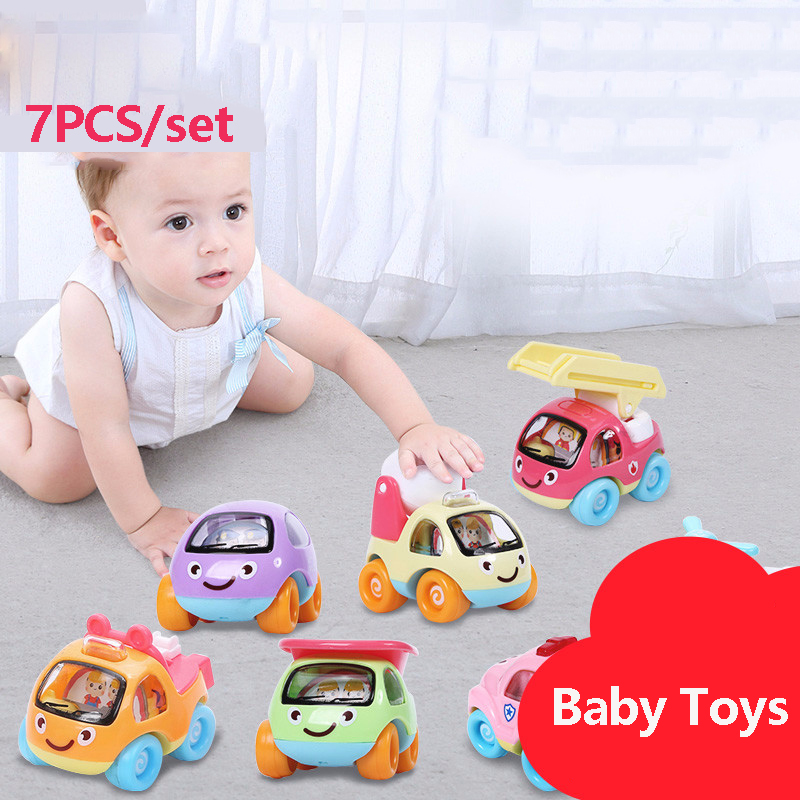 7PCS Baby Pull Back Car Inertia Car Toy Children Resistance To Falling Racing Toy Car Set Boy 1-2 Years Old 127127 new children s toy aircraft supersize inertia simulation aircraft helicopter boy baby music toy car model