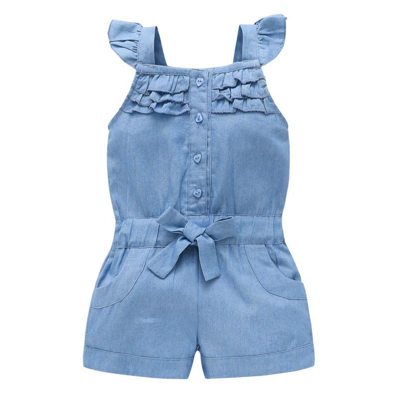 New Fashion Summer US Style Girl Jumpsuit Cute Sweet Washed Jeans Denim Romper Jumpsuits Straps Short Pants Cowboy