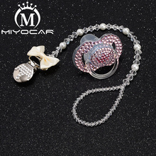MIYOCAR beautiful bling crown pacifier clip dummy holder with pink SP010