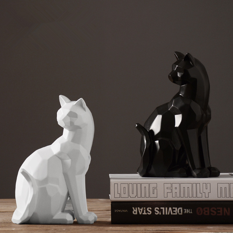 Origami style white and black geometric cat sculpture ornaments abstract animal figurine ornaments modern home decorations