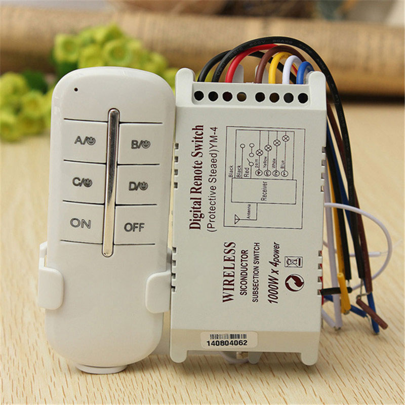 Wireless 4 Ways ON/OFF 220V Lamp Remote Control Switch Receiver Transmitter Digital Remote Control Switch for Lamp Light 1pcs 1 2 3 4 ways on off wireless light lamp remote control switch receiver transmitter white 300w 180 240v