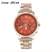 snowshine #10    Luxury Stylish Fashion Roman Number   Stainless Steel Quartz Sports Dial Wrist Watch   free shipping