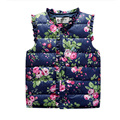 High Quality 2016 Winter Jacket for Girls Children's Vest Sweet Flower Sleeveless Cotton Colete Vest for Girls Kids Waistcoat