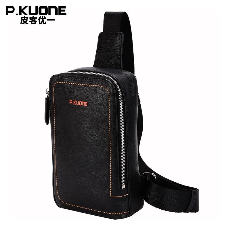 P.kuone fashion men bag genuine leather small casual one shoulder crossbody shoulder bags business men messenger bags brand цена
