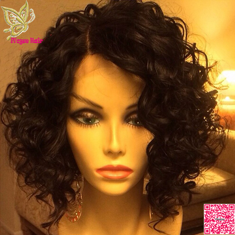 Short Human Hair Lace Front Wigs Loose Curly Virgin Brazilian Glueless Full Wig Curls For Black Women Grade 7a In From