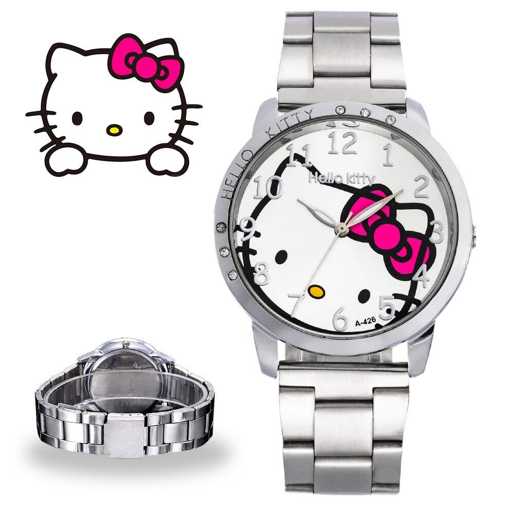 Fashion Hello Kitty Women Watches Stainelss Steel Ladies Watch Rhinestone Quartz Wristwatch Female Clock Reloj Mujer Montre Saat