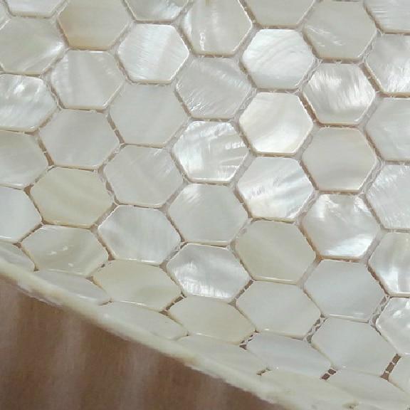Americana hexagonal madre de pearl blanco mosaico backsplash de la ...