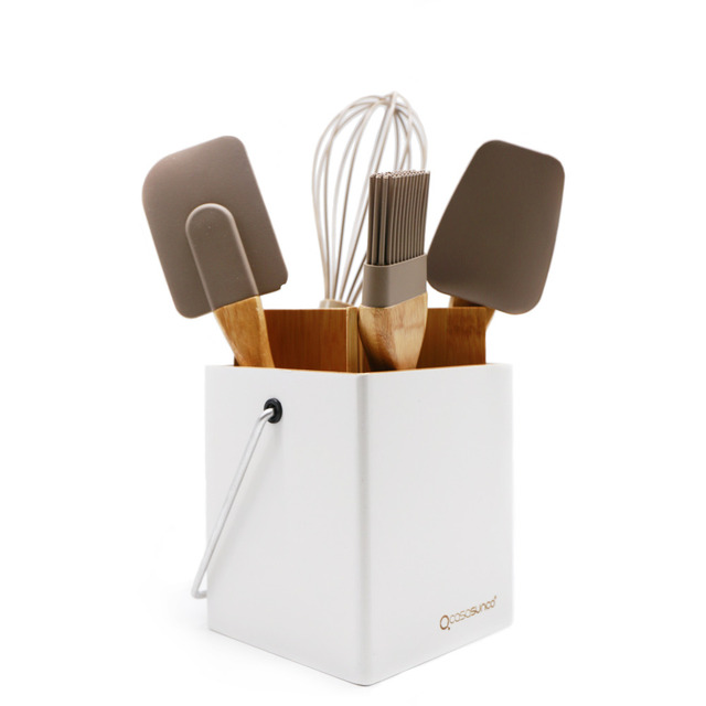 Cooking Utensil Set With Holder Beech Wood U0026 Siliconel Heat Resistant  Non Stick