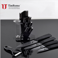 Free shipping set of black ceramic knives 3,4,5,6 inch Ceramic Knife + Peeler + Acrylic Knife Block Home Kitchen Knife