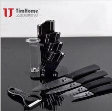 Kostenloser Versand Set schwarz Keramikmesser 3,4, 5,6 Zoll Keramikmesser + Peeler + Acrylmesserblock Hause Küchenmesser