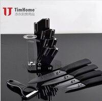 Gratis verzending set van zwarte keramische messen 3,4, 5,6 inch Keramische Mes + Dunschiller + Acryl Messenblok Thuis Keukenmes
