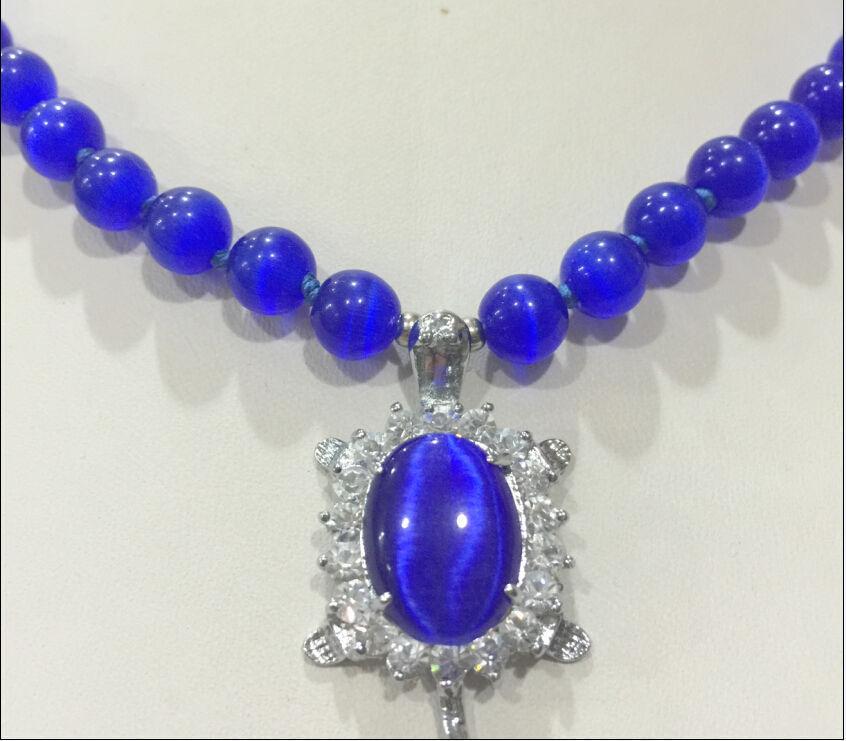 10X10 jewerly free shipping New 8mm Blue Sri Lanka Moonstone Gems Tortoise Pendant Necklace 18