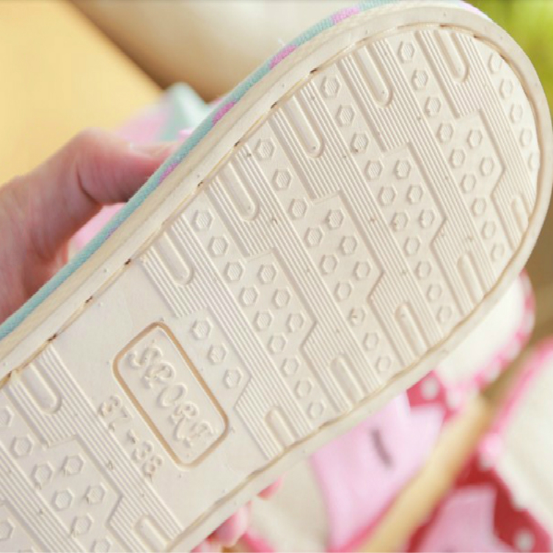 2019 new Summer linen slippers ladies living home anti-skid cotton thick cute cartoon indoor summer floor cooler slippers 5