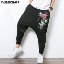 INCERUN 2018 hombres Harem hip-hop pantalones Drop Crotch Baggy pantalones  Rose imprimir pantalones hombres Streetwear Pantalon . 09133412da6