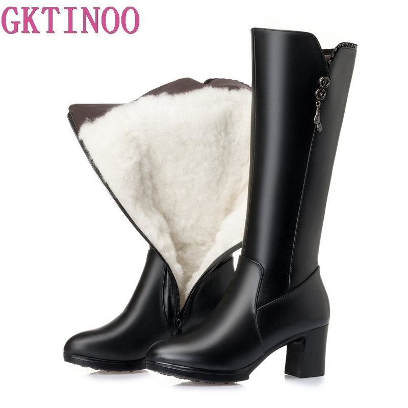 GKTINOO Thick High Heels Women Winter Shoes Genuine Leather Women Winter Boots With Warm Wool Fur