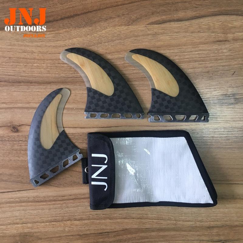 JNJ marque nouveau top qualité bambou de carbone ailerons de planche de surf surf tableau L'AVENIR G5 M palmes