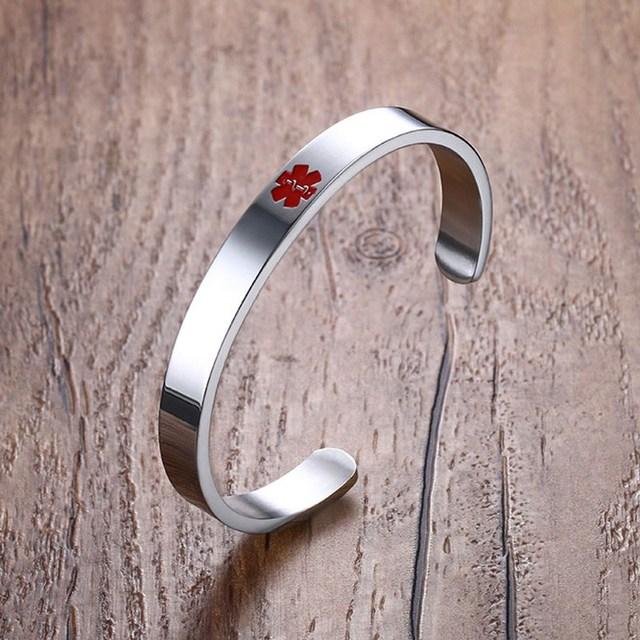 Women Cuff Bracelet Stainless Steel Medical Alert Open Braslet Bileklik Bayan Bijuteria Feminina Pulsera Jewelry Free
