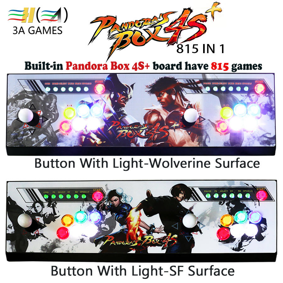 Pandora's box 4s plus 815 in 1 game arcade console usb joystick arcade buttons with light 2 players control machine pandora box sanwa button and joystick use in video game console with multi games 520 in 1