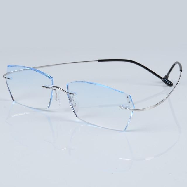caea12e654 Pure Titanium Eyeglasses Rimless Optical Frame Prescription Spectacle  Frameless Glasses for Men Eye glasses Unisex Silicon Foot
