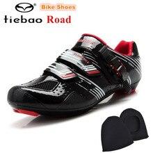 TIEBAO Road Cycling Shoes men Black Breathable Mens Road Bikes Shoes Auto-lock Bicycle Sports Shoes zapatillas deportivas hombre