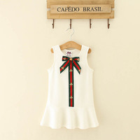 Europe and America Style Girls Dress Bow Sleeveless Casual Dress Vest Dress Baby Summer Clothing Comfortable Soft Touch