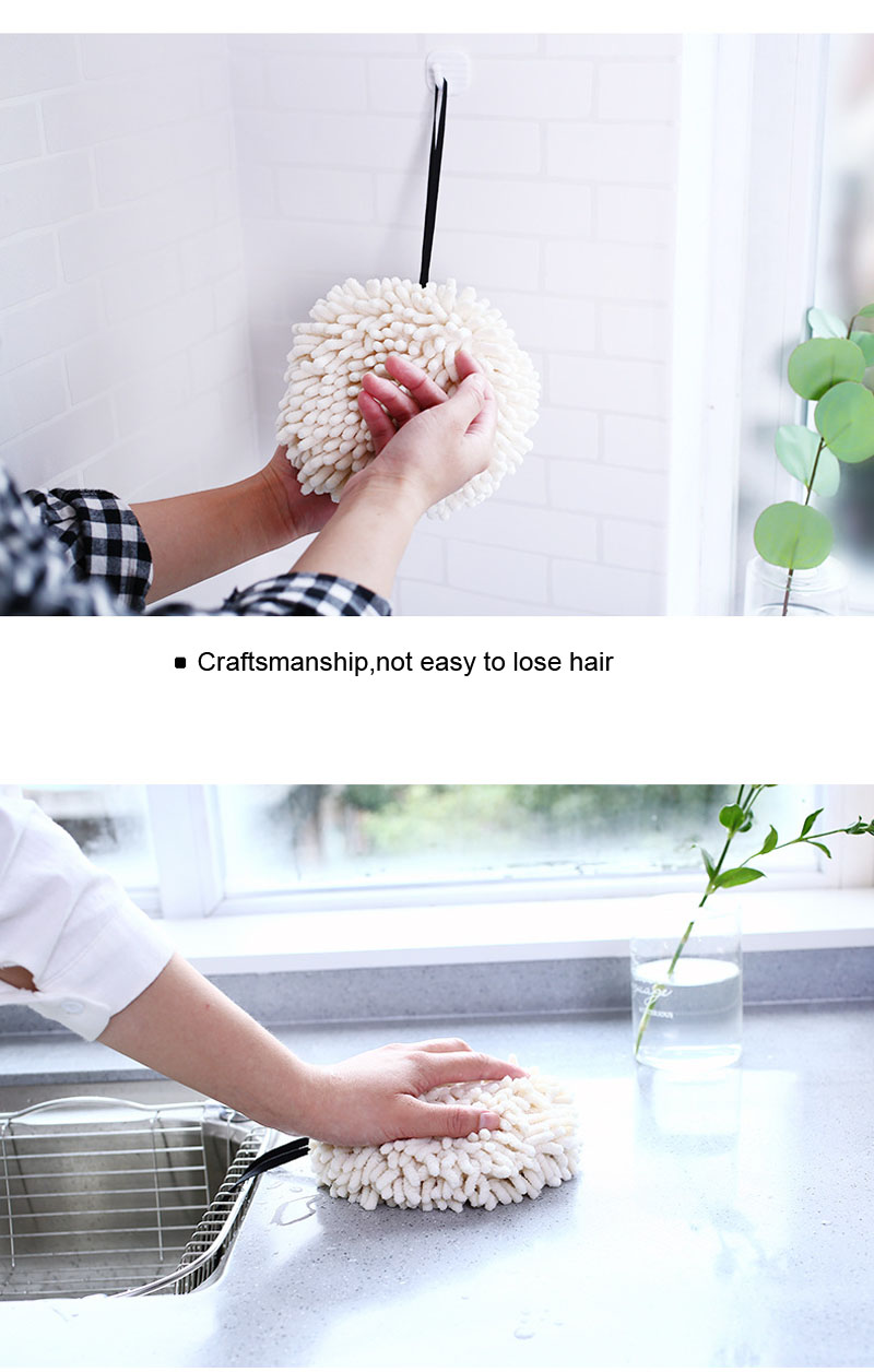 Chenille Hand Dry Towels Kitchen Bathroom Strong Water Absorption Quick Dry Towel Hanging Thick Lovely Hands Dry Ball (10)