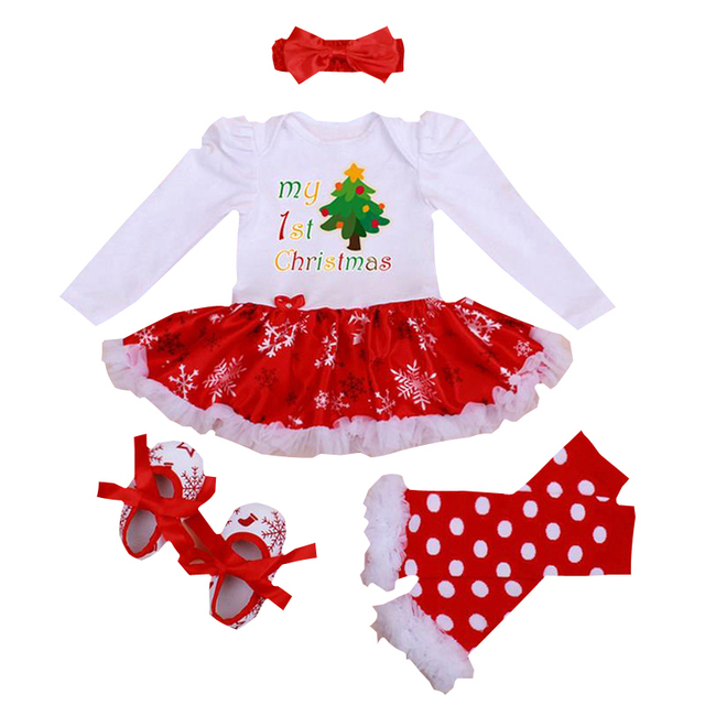 1ca08ed3d My First Christmas Baby Girl Clothes Newborn Dress Sets Bebe Infant Clothing  Jumpsuit Kids Christmas Outfits 4PCS Set Headband