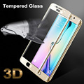 For Samsung S 6 Edge Colorful Full Cover Glass Tempered Film Screen Protector for Samsung Galaxy S6 Edge G9250 Color gold Black