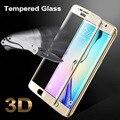 Para samsung s 6 edge colorful cubierta completa de vidrio templado de cine protector de pantalla para samsung galaxy s6 edge g9250 color oro negro