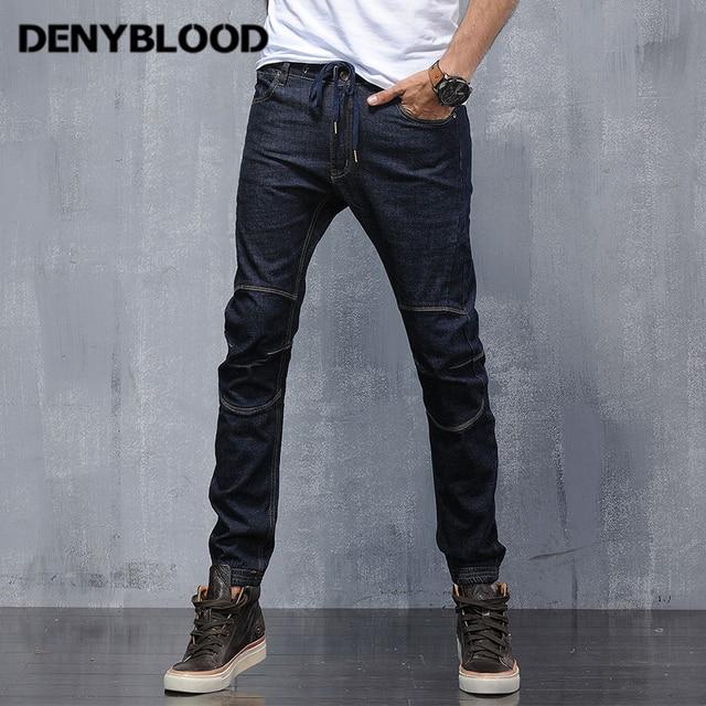 Denyblood Jeans Herren Stretch Denim Slim Jeans Mutil Schneiden Pluderhosen  Elasthan Boden Blau Schwarz Denim Cargohosen 072ffa1336