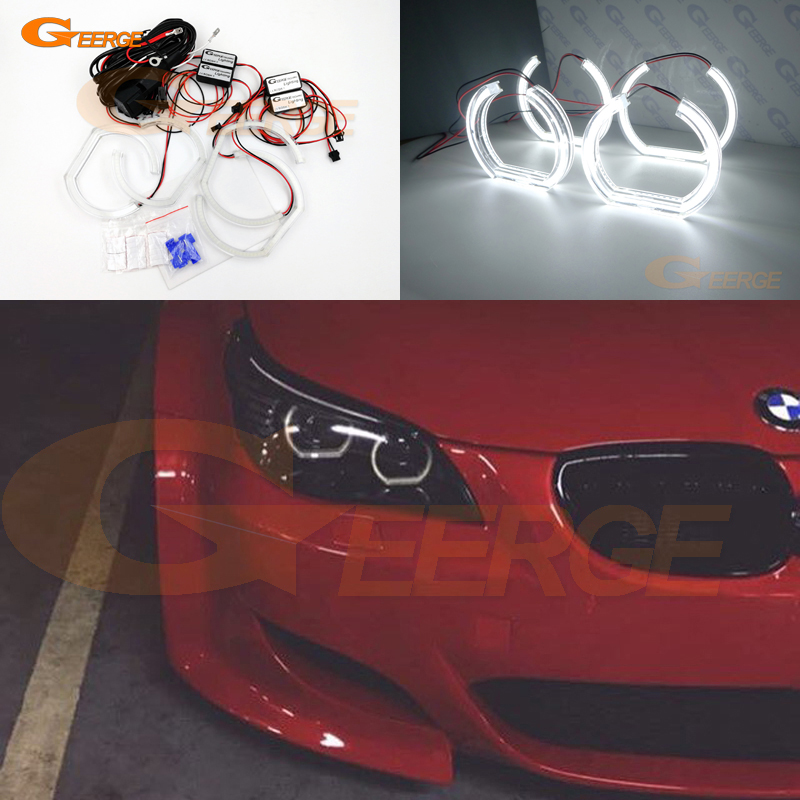 For BMW 5 SERIES E60 E61 LCI 525i 528i 530i 545i 550i M5 2007-2010 Xenon headlight DTM Style Ultra bright led Angel Eyes kit for bmw 5 series e60 m5 e61 car front headlamp housing clear lens shell cover for bmw 525i 530i 528i 535i 540i 550i 545i n001