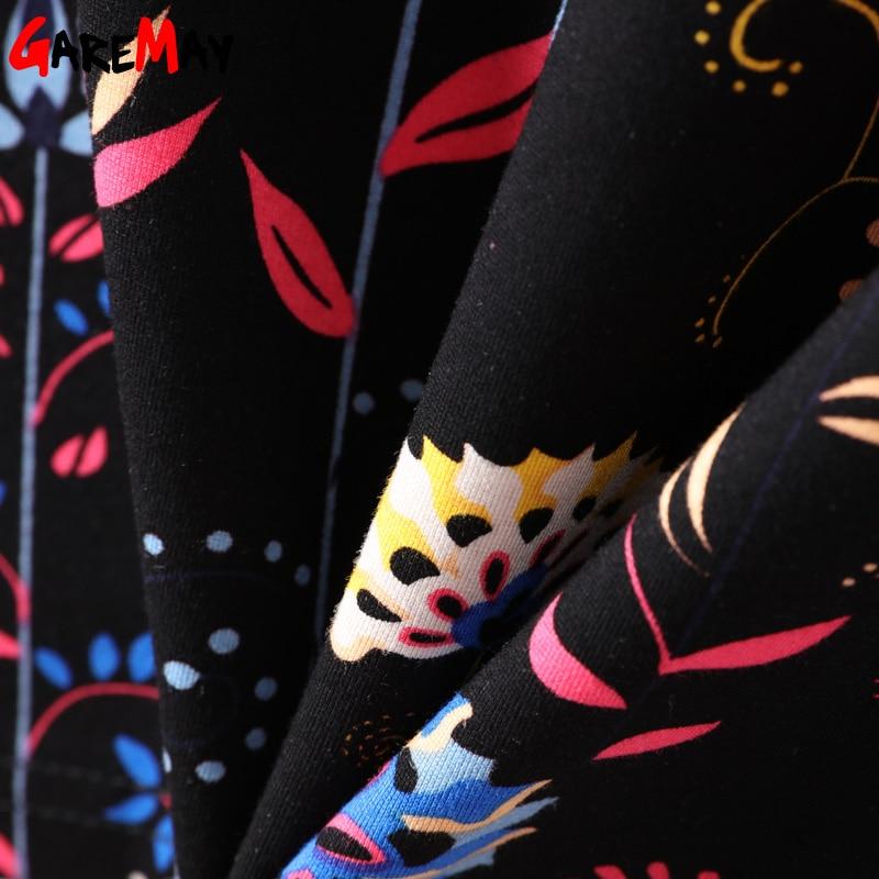 GAREMAY Floral Print Midi Rock Herbst Bodycon Gestrickte Röcke Frauen Elegante Hohe Taille Bleistift Rock Plus Größe Stricken Schwarz Röcke