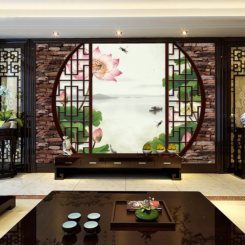 Custom 3d mural wallpaper non-woven Chinese style Retro 3D Windows Lotus pond TV background living room bedroom wall murals spring abundant flowers rich large mural wallpaper living room bedroom wallpaper painting tv background wall 3d wallpaper