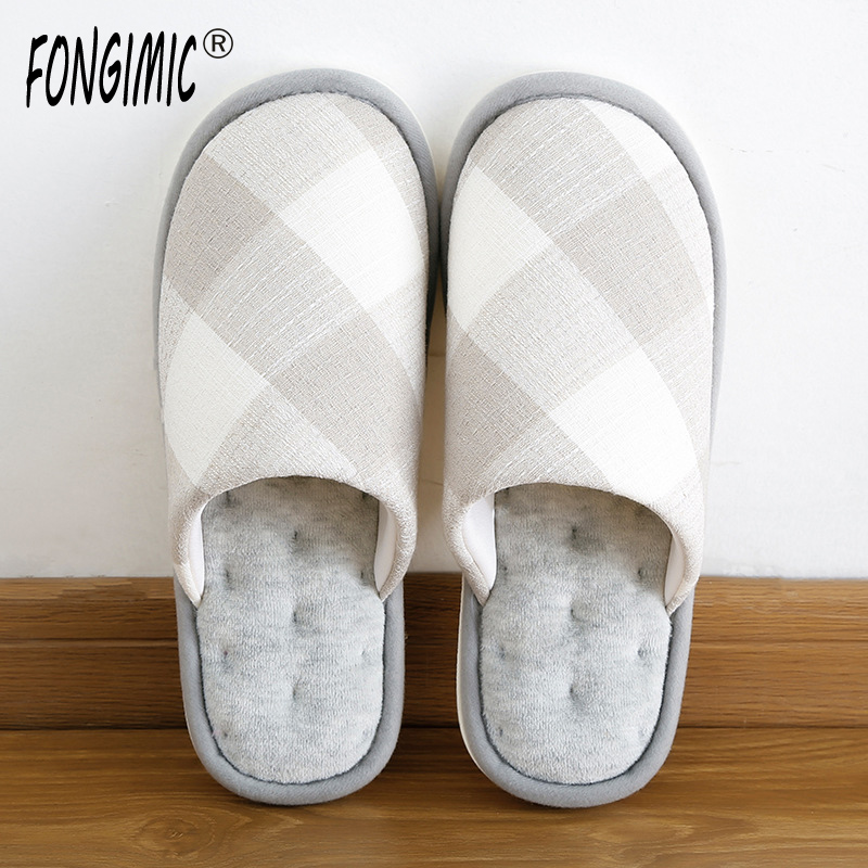 FONGIMIC Style Comfortable Indoor Slippers Men Women Casual Wear Shoes Autumn Winter Warm Couple Slippers Hot Sale Flat Slippers купить