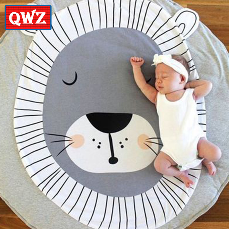 QWZ Play Mat Round Lion Printed Pure Cotton Crawling Blanket Infant Game Pad Play Rug Floor Carpet Baby Gym Activity Room Decor cartoon soft baby play mat game mat kids infant rug floor pad educational hanging toy carpet infant playmat crawling blanket