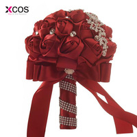 Burgundy Wedding Flowers Bridal Bouquets High Quality Sparkle Crystal Beads Pearls Luxury Bride Bouquet