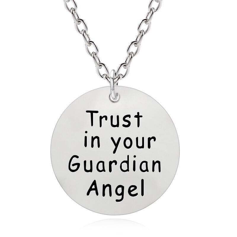 DIY Round Necklace Letter Trust In Your Guardian Angel Pendant Hip Hop BBF Pendants&Necklaces Unisex Best Friend Dropshipping