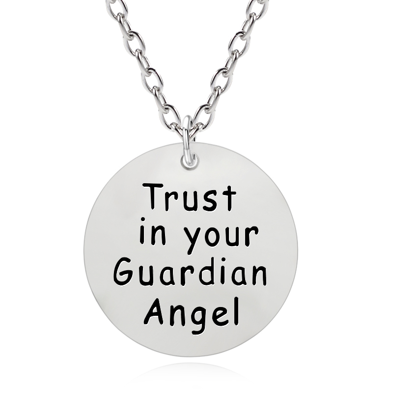 DIY Round Necklace Letter Trust In Your Guardian Angel Pendant Hip Hop BBF Pendants&Necklaces Unisex Best Friend Dropshipping image
