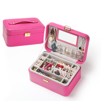Princess Jewelry Boxes Large Capacity Double Layers Jewelry Storage Boxes with Lock Fashion Portable Jewelry Boxes
