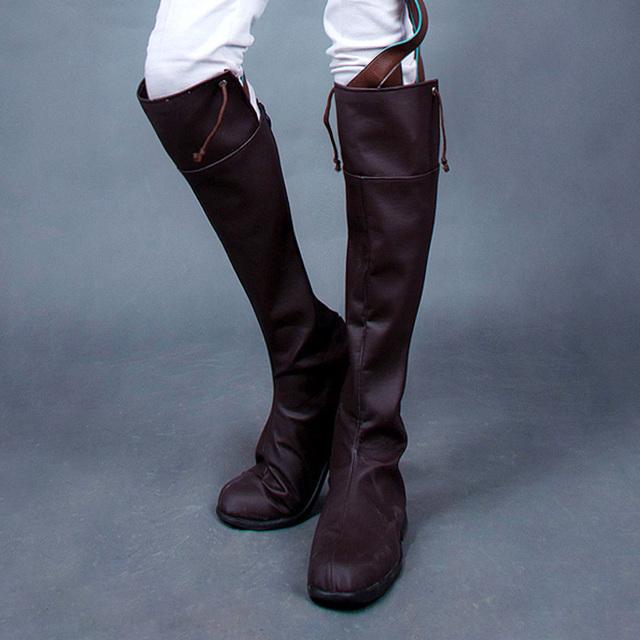 Ataque en Titán (Shingeki no Kyojin) Encuesta corps Rivaille Mikasa Ackerman Eren Jaeger Leonheart cosplay zapatos Botas