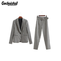 Geckoistail Women Plaid Pants and Blazers Sets Office Lady Business Suits Two piece Sets Female Blazer and pants Sets Clothing