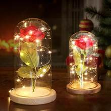 20 LEDs Rose Flower Night Light With USB Charging Glass Cover Base For Valentine's Day Wedding Birthday Gift(China)