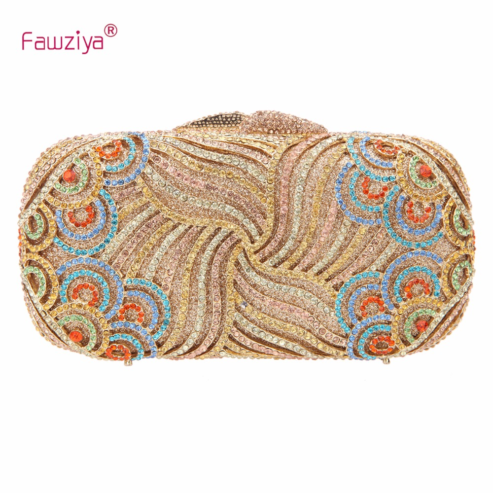 Fawziya Clutch Bag Women Luxury Paisley Bling Rhinestone Hotgear Bubble Magic Green Hard Case Purse
