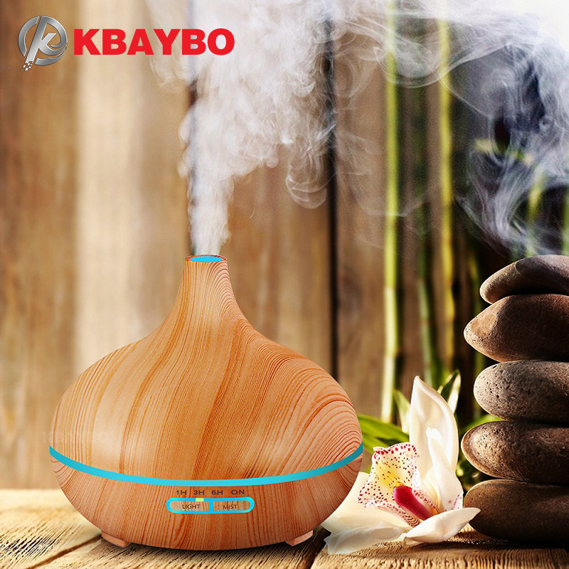 KBAYBO 300ml Arom Luftfuktare träkorn med LED-lampor Essential Oil Dispenser Aromatherapy Electric Mist Maker for Home