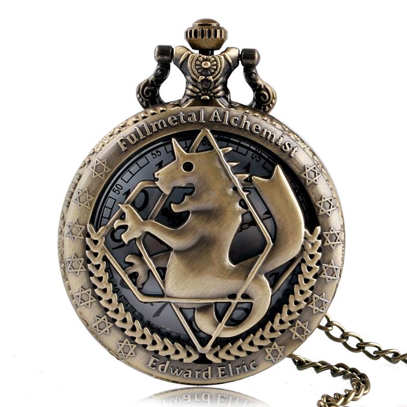 Fashion Full Metal Alchemist Copper Quartz Pocket Watch Men Vintage Necklace Women Fashion Watches Bronze Clock Children Gift